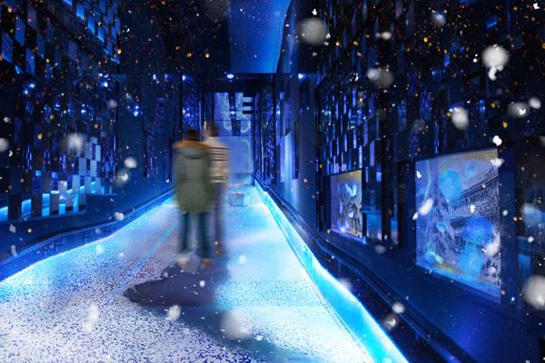 すみだ水族館「万華鏡トンネル」にて、冬を体感できるインタラクティブアート「雪とクラゲ」