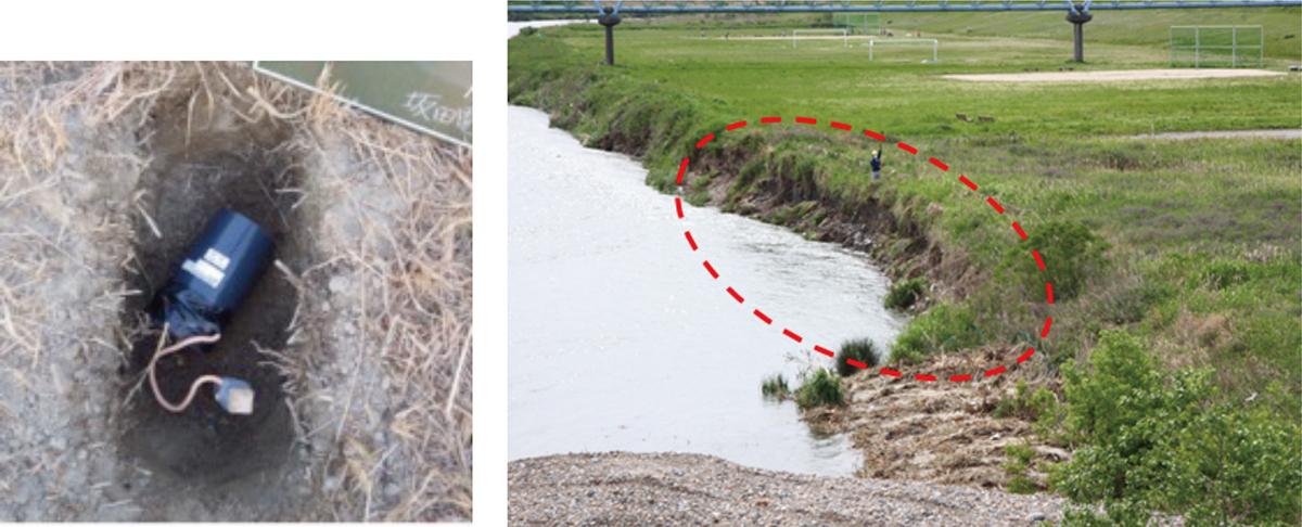 図6 左:庄内川における侵食センサ設置状況、右:検知後の庄内川における侵食状況
